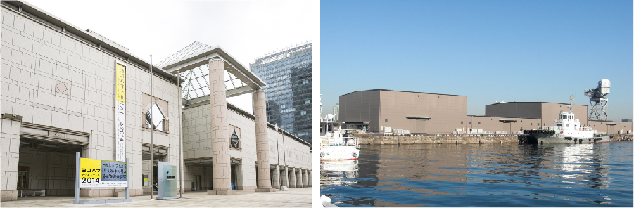 写真左から:メイン会場となる横浜美術館と新港ピア(新港ふ頭展示施設)
