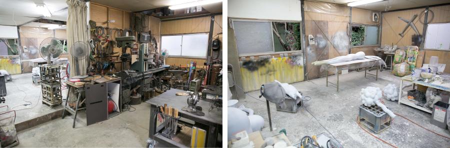 スタジオには様々な工具が揃っており、溶接から塗装も可能