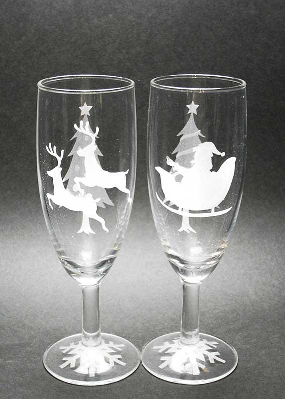 クリスマス期間限定  サンドブラストでペアシャンパングラスとガラスの小箱作り