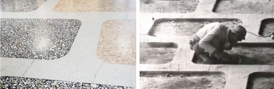 写真左:現在も輝きを失わないテラゾー仕上げの床。©MAGCUL 写真右:職人が手作業でテラゾーを仕上げている様子。©大成建築株式会社横浜支店