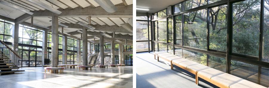 写真左:広々とした1階のホワイエ。天井が客席の下であることが伺える。©青柳聡 写真右:大きな窓から外光が差し込み、中庭の緑がコンクリートの冷たさを中和している。©MAGCUL