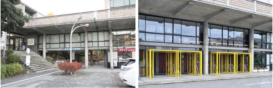 写真左:図書館と音楽堂をつなぐ廊下 ©MAGCUL 写真右:ピロティを利用した正面玄関 ©青柳聡