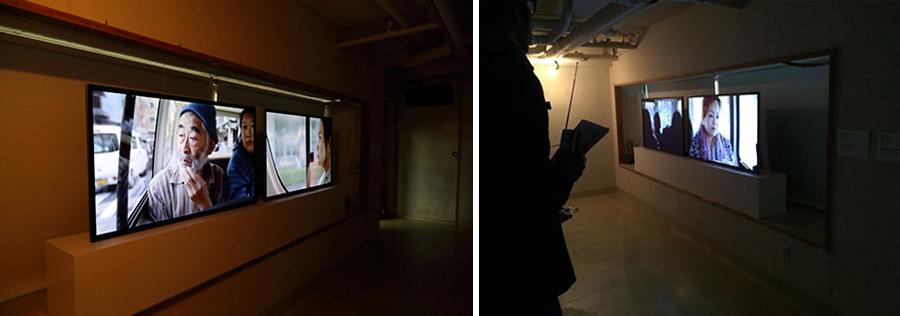 移動を捉えた藤井光による映像作品の展示風景