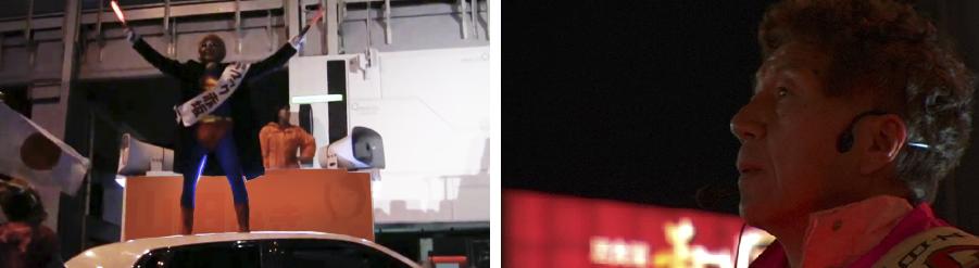画像左より:秋葉原でのワンシーン/大阪難波で敗北感から群衆を見つめるマック氏