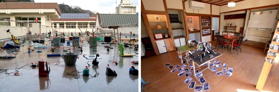写真左:ケイタロウ+4年1組《ゴミの卒業式》/鎌倉なんとかナーレ2012 |写真右:はみだし部品『山と梅』展示風景/2014