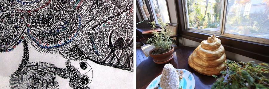 写真左:モンド『山と海』出品作品《オケツ畑》(部分)/2014 |写真右:モンド『山と海』出品作品/2014