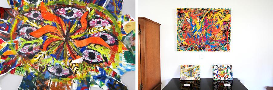 写真左:シンヤ君が高松先生の授業で描いた太陽(部分)| 写真右:シンヤ『山と海』出品作品/2014