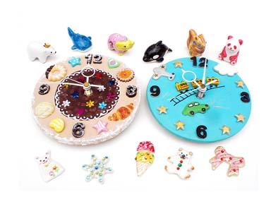 夏休み!工房体験 当日持ち帰れる気軽な陶芸メニュー3種類 白磁のデコアート・立体オブジェ・カラフルアレンジ時計
