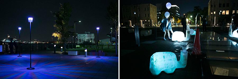 左:芝浦工業大学 入倉研究室「Colored Town」 右:EP3武蔵野大学「エレファント・シャワー」