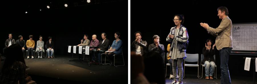 全演目が終了し緊張した面持ちで審査員の話を聞く参加者達。優勝した河田唱子には特注の劇王スカジャンが贈呈された。