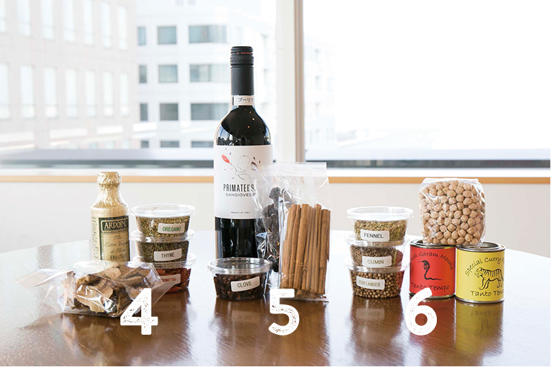 4:ARDOINO エキストラバージンオリーブオイル 乾燥ポルチーニ茸 スパイス(タイム・ペペロンチーノ・オレガノ)、5:赤ワイン シナモン クローブス 枝付き干しぶどう、6:オリジナルスパイス オリジナルガラムマサラ ひよこ豆 スパイス(クミン・コリアンダー・フェンネル)