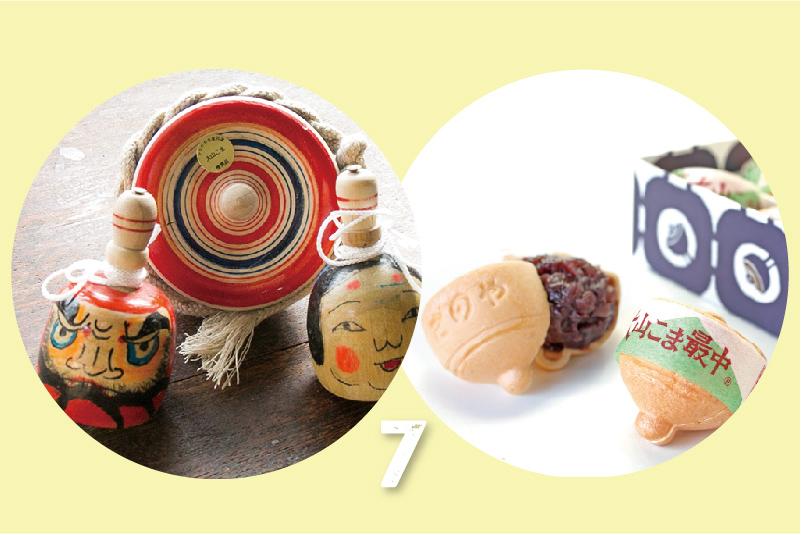 7:大山独楽・だるまコマ・おかめとひょっとこのコマ(はりまや) / 神奈川県指定銘菓 大山こま最中(さのや)