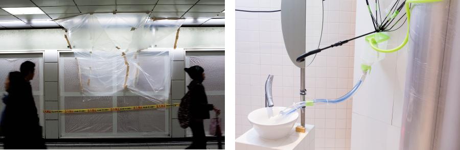 写真左|《モレモレ東京》より 写真右|《モレモレ東京~キッチンとトイレでつくっちゃうモレモレ実践編~》/会場:アサヒアートスクエア/撮影:前澤秀登