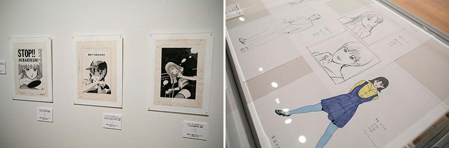 左:「ストップ!! ひばりくん!」(1980年代)原画 右:「PERFECT BLUE」(1997年)キャラクター原案