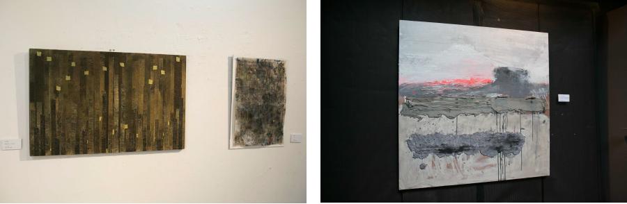 写真左:岡本順子(日本)/写真右:Victor Alba(スペイン)|どちらも小田原での体験を平面に描き出している。