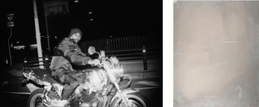 画像左:浦添, 2009(adrenamix より)/2010年/PC、モニター、画像右:印画鏡02/2010年/ゼラチンシルバー・プリント
