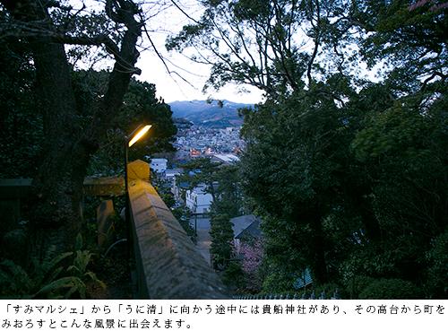 「すみマルシェ」から「うに清」に向かう途中には貴船神社があり、その高台から町をみおろすとこんな風景に出会えます。