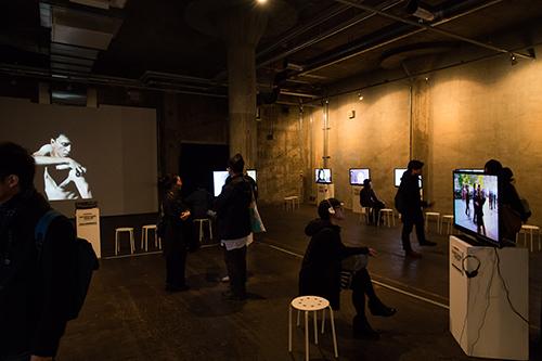The main exhibition area of Choy Ka Fai's SoftMachine: Expedition. Photo:Hideto Maezawa.