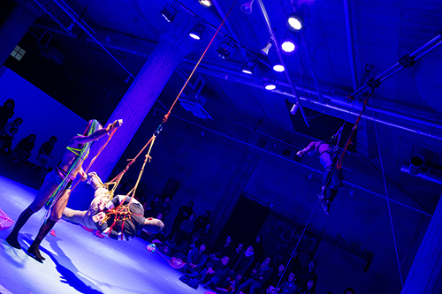 Luke George suspends a bound audience member in mid-air, while Kok too is being suspended high towards the ceiling by three audience members (not pictured). Photo:Hideto Maezawa.