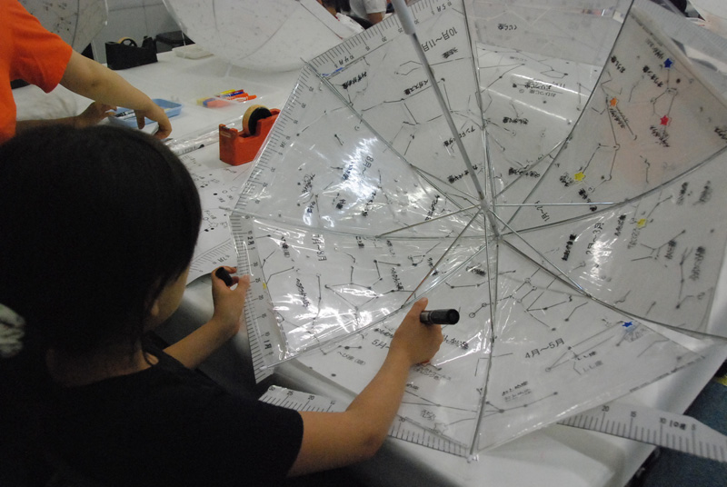 夏休み特別企画「工作がいっぱい!自由研究パラダイス2016」じっくり!天文工作「カサでプラネタリウムを作ろう!」
