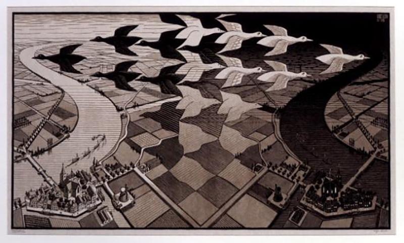 画像:昼と夜 All M.C.Escher works©Escher Holding B.V.-Baarn-the Netherlands