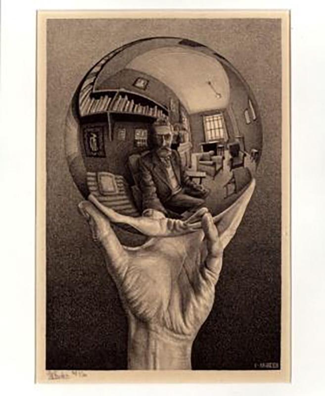画像:写像球体を持つ手 All M.C.Escher works©Escher Holding B.V.-Baarn-the Netherlands