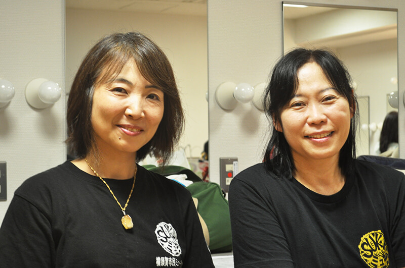 Hisami Yamasaki, SUKA Myu representative (right) and Mita, SUKA Myu staff (left)