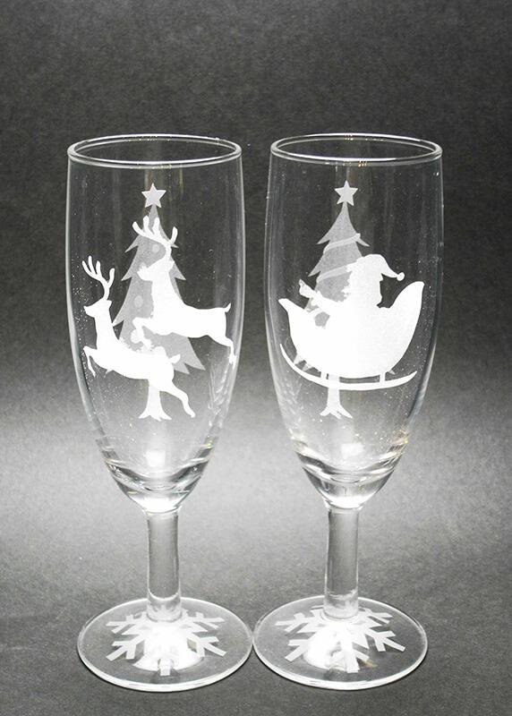 サンドブラスト クリスマス限定「ペアシャンパングラス・ソックスグラス」