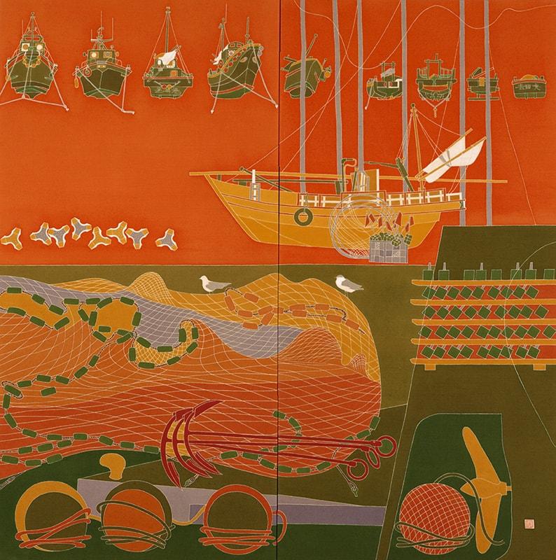 画像:《残照》1989(平成元)年 友禅 二曲一隻 168.0×168.0cm 横須賀美術館蔵