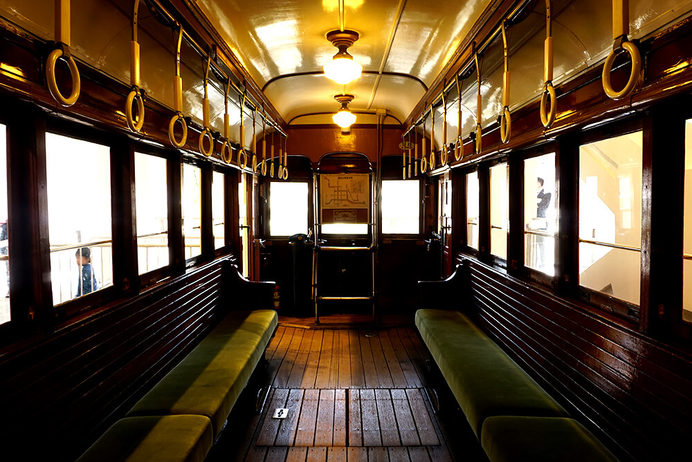 The old train of the tram has a classic interior