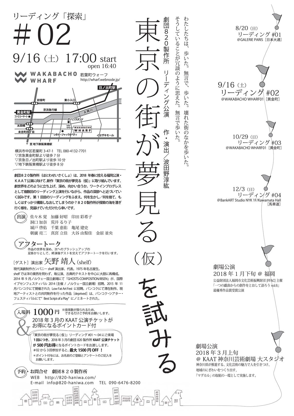 劇団820製作所リーディングシリーズ「『東京の街が夢見る』を試みる」#02