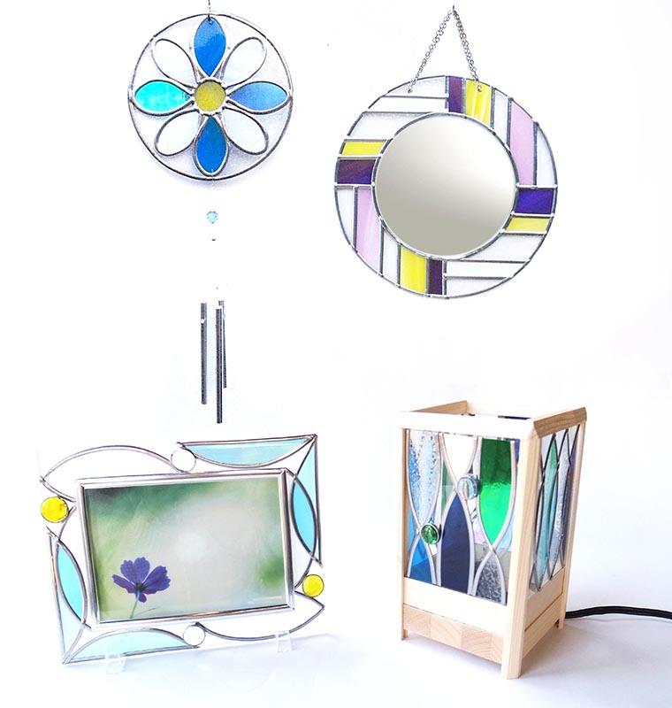 冬~春の期間限定 かんたんステンドグラスアートで作る  フォトフレーム/ウィンドチャイム/まるミラー/ルームランプ