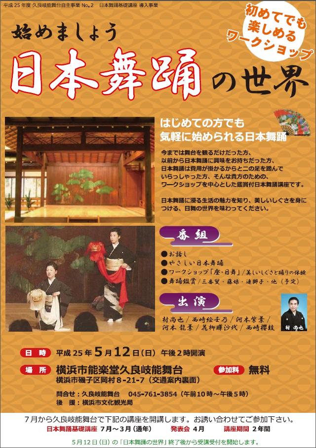 平成25年度久良岐能舞台 日本舞踊基礎講座導入事業 【始めましょう 日本舞踊の世界】