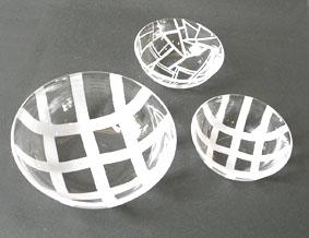 かながわお楽しみクーポン限定 特別メニュー 「ガラスのサンドブラスト サラダボール3点セット」