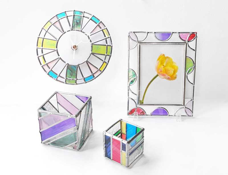 初夏の期間限定メニュー かんたんステンドグラスアートで作るフォトフレーム&キャンドル&時計