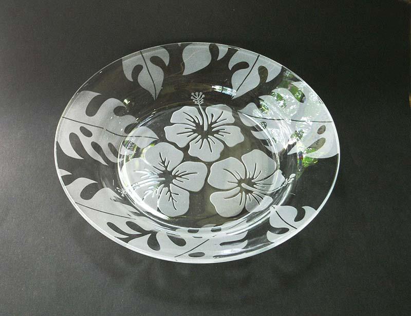 夏の期間限定 ガラス工芸サンドブラスト ガラスのお皿