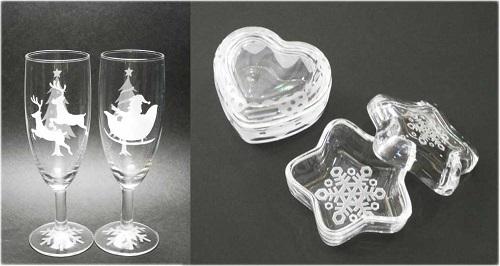クリスマス限定版 ガラス工芸サンドブラスト 「ペアシャンパングラス」と「ガラスの小箱」作り