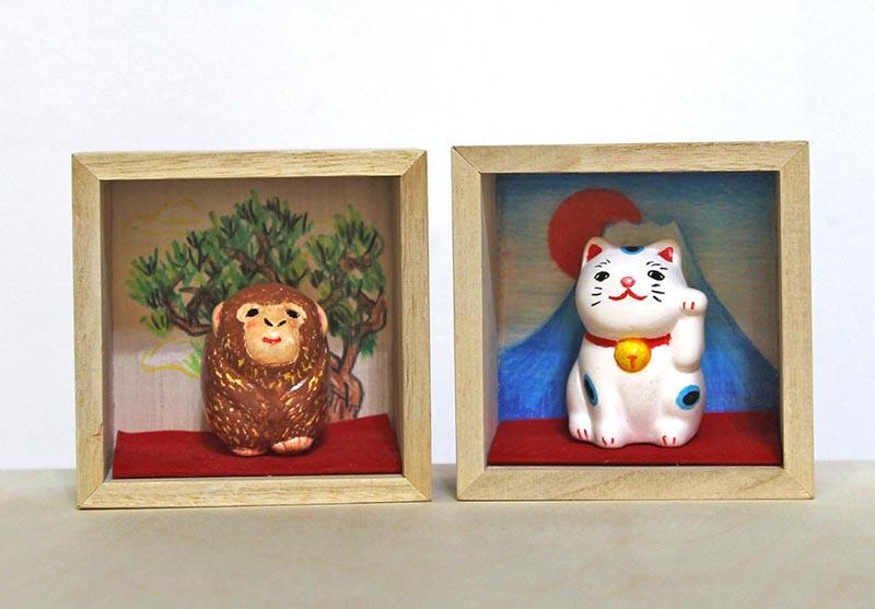 冬の期間限定メニュー 干支と招き猫の立体オブジェ作り