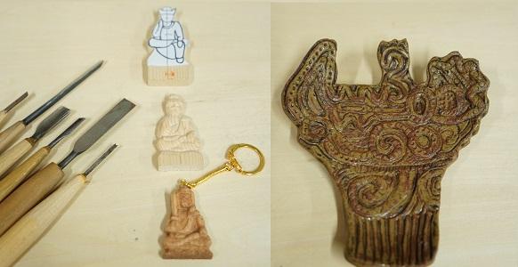 夏休み企画 木彫/陶芸ワークショップ (お守り仏像キーホルダーを作ってみよう、縄文土器型の皿を作ってみよう)
