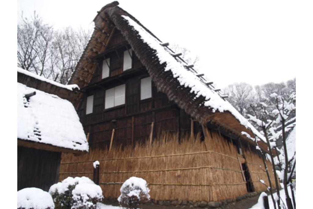 古くから雪国で行われていた伝統的な雪囲いを再現