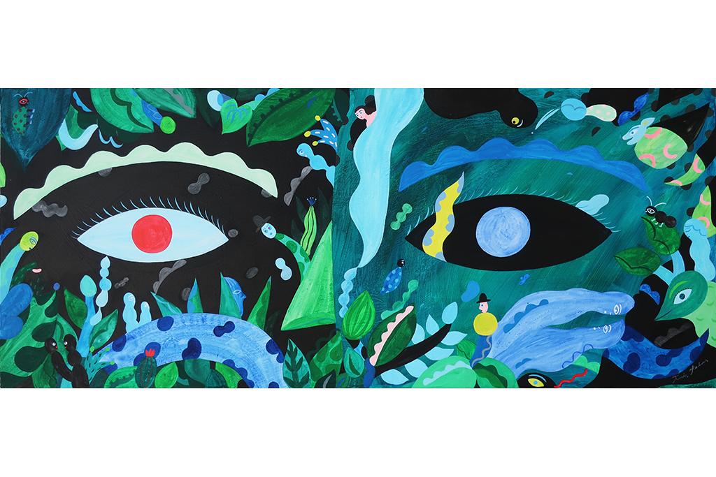 壁画のインスタレーションを含む、新作による「岡田杏里」展覧会