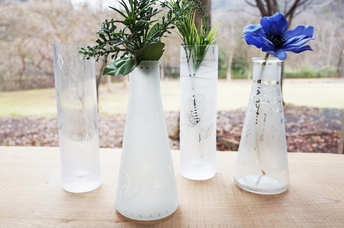 サンドブラスト限定メニュー 涼しげなガラスのフラワーベース作り。